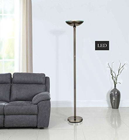 "Artiva USA LED9485BSN LED Torchiere Floor Lamp with Touch Dimmer, 71"", Saturn Black Brushed Steel"