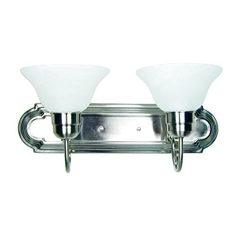 AA Warehousing L22-SN Modern, Transitional, Traditional 2 Light Bathroom Vanity Fixture Satin Nickel with White Glass By , Satin Nickel, Silver