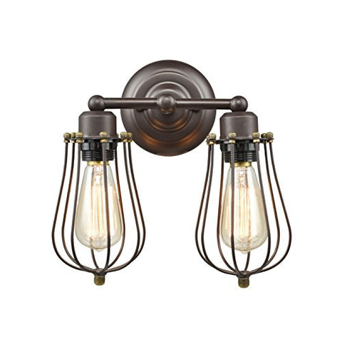 Claxy Ecopower Vintage Style 2-Lights Industrial Oil Rubbed Bronze Mini Wire Cage Wall Sconce - llightsdaddy - Claxy - Lights