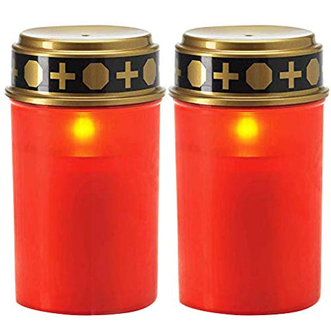Feian 2PCS Ritual Candles Lamp,Waterproof Solar Powered Flameless Candle Lamp with Realistic Flickering Effect,Energy Saving Electronic Memorial Candle for Cemetery Ritual - llightsdaddy - Feian - Flameless Candles