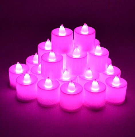 Samyo Set of 24 Battery Flameless & Smokeless LED Tealight Candles - Pink/Purple Candlelightllightsdaddy.myshopify.com lightsdaddy