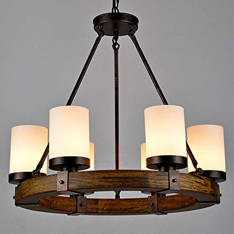 NIUYAO Vintage Chandelier Lighting 6-Light Pendant Light Solid Wood Country Rustic Island Hanging Lights Cylinder Shape Ceiling Lamplightsdaddy.myshopify.com lightsdaddy