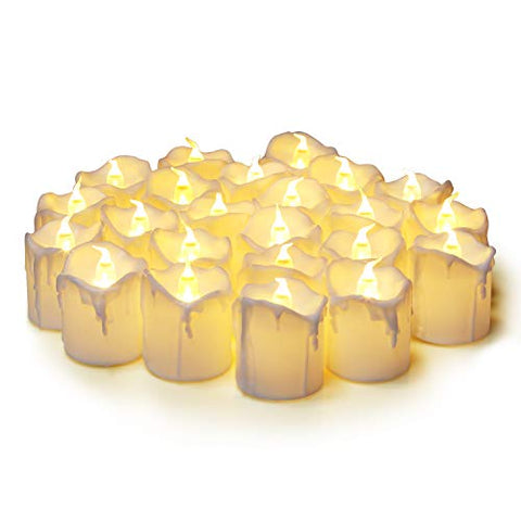 KEESON Flameless Votive Candles,Votive Flameless Candles,Battery-Operated LED Tea Light,Fake Electric Candles for Wedding Home Decor Birthday Party Warm White(24 Pack) - llightsdaddy - KEENSON - Flameless Candles
