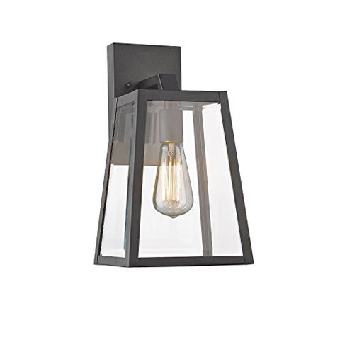 "Chloe Lighting CH822034BK14-OD1 Transitional 1 Light Black Outdoor Wall Sconce 14"" Height"