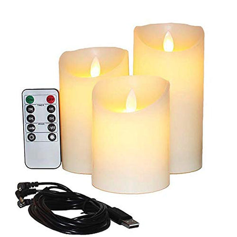 Flameless Candles Electric with Rechargeable Battery (Autbye 2019 Advanced Edition) Extra Bright Ivory Dripless Real Wax Pillars LED Smart Candle Flickering with 10-Key Remote Control (3 Pack) - llightsdaddy - Guangzhou Jiaheng Crafts Co., Ltd. - Flameless Candles