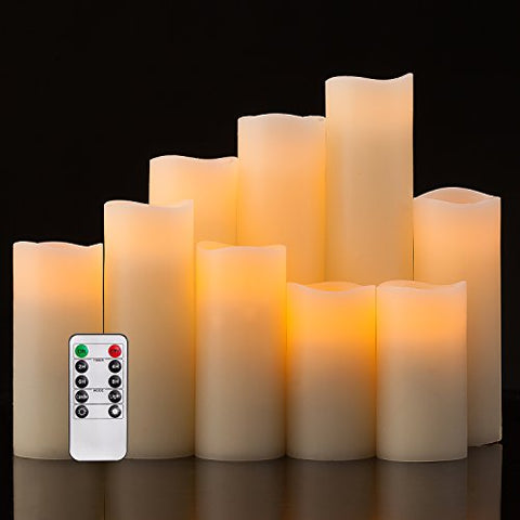 Pandaing Flameless Candles Battery Operated LED Pillar Real Wax Flickering Electric Unscented Candles with Remote Control Cycling 24 Hours Timer, Ivory Color, Set of 9 - llightsdaddy - Pandaing - Flameless Candles