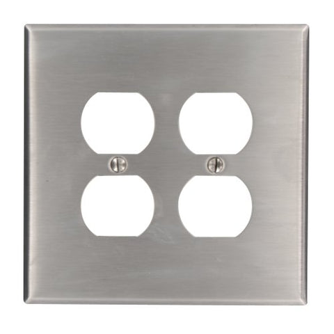 Leviton 84116 2-Gang Duplex Device Receptacle Wallplate, Oversized, Device Mount, Stainless Steel - llightsdaddy - Leviton - Wall Plates