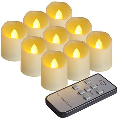 PChero 9pcs LED Flameless Candles with Remote Control and Timer Function, Brightness and Flicker or Continuous Bright Adjustable, Last More Than 200 Hours - llightsdaddy - PChero - Flameless Candles