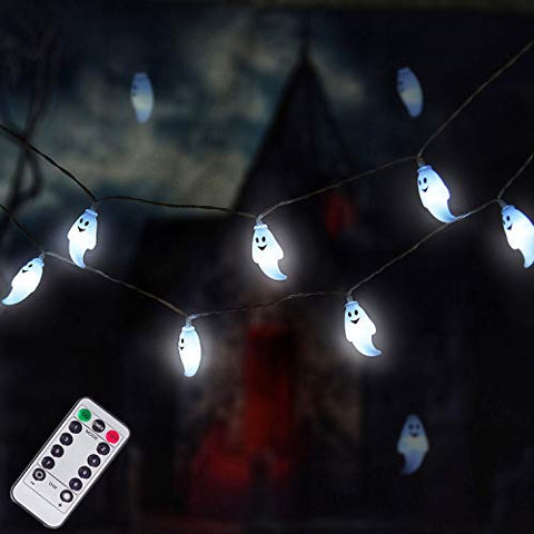 Halloween String Lights, 25LED Ghost String Lights Battery Operated, Waterproof Halloween Decorative Lights for Garden, Gate, Halloween Party Decor