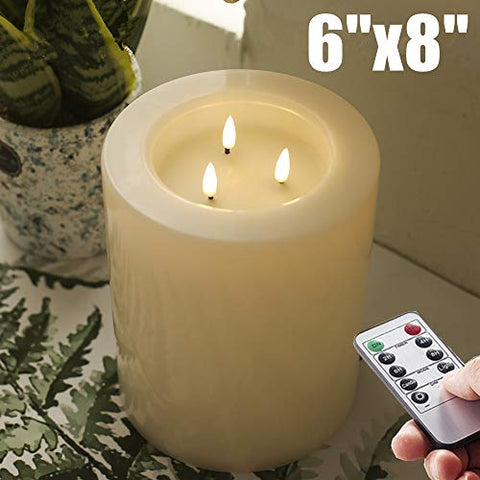 "XL 6"" Large Flameless Candles with Remote and Timer, LED Battery Operated ,Flickering Pillar CANDLES--3-C Batteries runs 500hours (Not included) - llightsdaddy - NONNO&ZGF - Flameless Candles"
