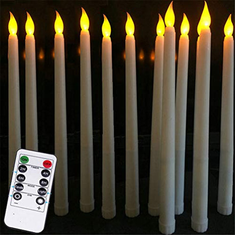 Bozdqun 12 Pieces 11 inch Flameless Taper Candles LED Battery Operated Window Candles with Remote and Timers, Yellow Flickering - llightsdaddy - Bozdqun - Flameless Candles