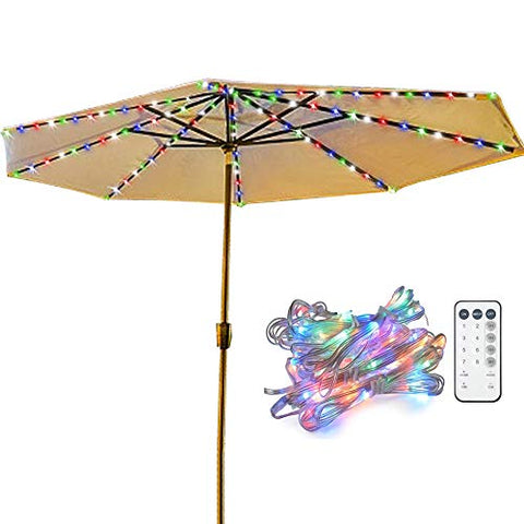 Umbrella Lights, Koffmon 8 Lighting Mode 104 LED with Remote Control Umbrella Lights Battery Operated Waterproof Outdoor Lighting, for Patio Umbrellas/Outdoor Use/Camping Tents (Multi-Color) - llightsdaddy - Koffmon - Umbrella Lights