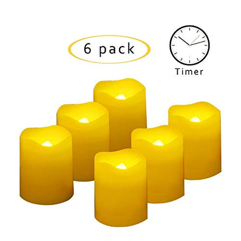 CANDLE CHOICE Set of 6 Flameless Votive Candles with Timer, LED Votives, Battery-Operated Votive Candles with Timer, Dual Timer 4-Hour and 8-Hour, Long Battery Life 400+ Hours, Battery Included - llightsdaddy - Unilution Inc. - Flameless Candles
