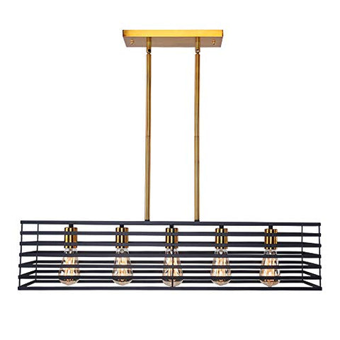 Lingkai Modern Kitchen Island Lighting Rectangle Chandeliers 5-Light Linear Cage Pendant Light Rectangle Farmhouse Hanging Ceiling Lightlightsdaddy.myshopify.com lightsdaddy