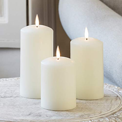Lights4fun, Inc. Set of 3 True Glow Battery Operated Flameless LED Ivory Wax Pillar Candles with Remote Control - llightsdaddy - Lights4fun, Inc. - Flameless Candles