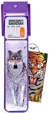 "Mark-My-Time 3D ""FLIP"" Snow Wolf/Tiger Digital LED Booklight Reading Timer - llightsdaddy - Mark-My-Time - Book Lights"
