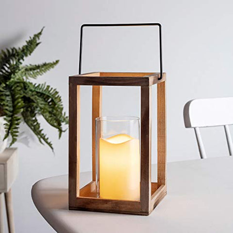 "Lights4fun, Inc. 9.5"" Wooden Battery Operated Indoor LED Flameless Candle Lantern with Glass Candle Holder - llightsdaddy - Lights4fun, Inc. - Flameless Candles"