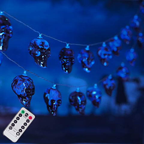 30 LED Halloween Skull String Lights, 8 Modes Fairy Lights with Remote, 16.4ft Waterproof Battery Operated Halloween Lights for Outdoor Indoor Party Bar Halloween Decoration