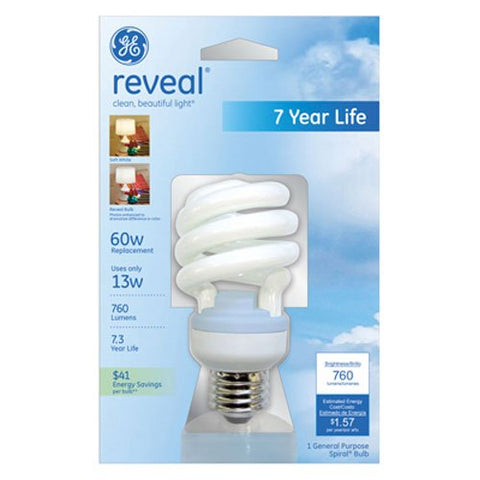 GE Lighting 75406 Reveal Spiral CFL 13-Watt (60-watt replacement) 800-Lumen T3 Spiral Light Bulb with Medium Base, 1-Pack