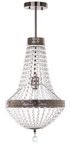 "Safavieh"" Collection Shirley Grand 1 Light 11.75"" Pendant, Nickel/Clear"