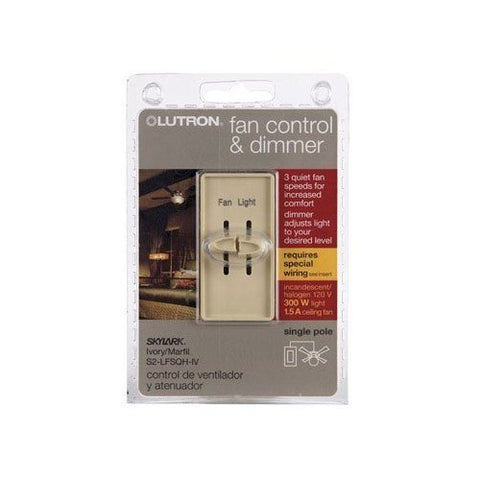 Lutron Electronics S2-LFSQH-IV Single Pole Quiet Light and Fan Control, 1.5-Amp, Ivory