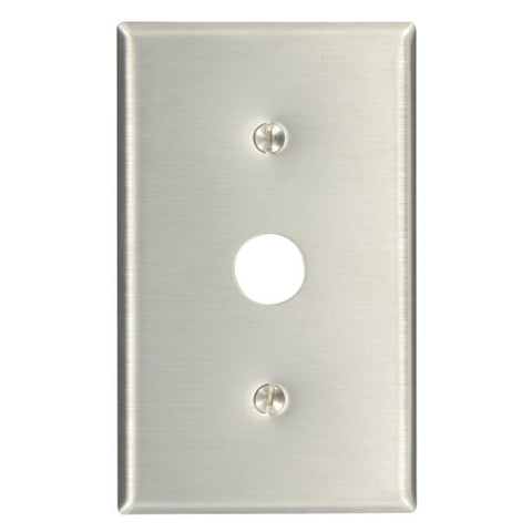Leviton 84037-40 1-Gang .625-Inch Hole Device Telephone/Cable Wallplate, Strap Mount, Stainless Steel - llightsdaddy - Leviton - Wall Plates