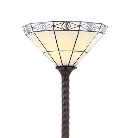 "JONATHAN Y JYL8005A Moore Tiffany-Style 68.57"" Torchiere Floor Lamp, Bronze - llightsdaddy - JONATHAN Y - Lamp Shades"