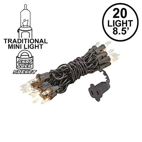 Novelty Lights 20 Light Clear Christmas Craft Mini Light Set, Brown Wire, 8' Long