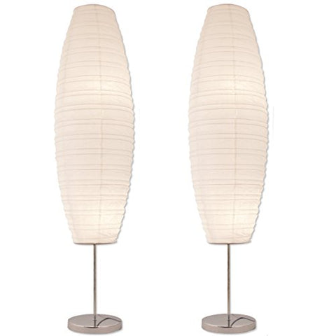 Light Accents Diploma Chrome Floor Lamp Set with Paper Shades (Set of 2) - llightsdaddy - Lightaccents - Lamp Shades