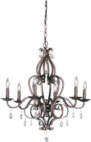 Feiss F1798/6PBR Mademoiselle Crystal Candle Chandelier Lighting Bronze 6-Light 360watts