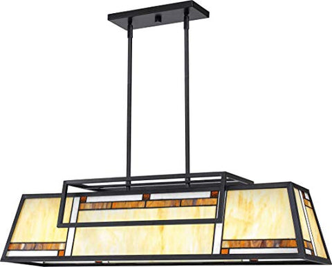 Quoizel ATW439MBK Atwater Tiffany Island Chandelier, 4-Light 400 Watts, Matte Black