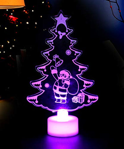 Yisuya 3D Night Light Christmas Trees Light For Kids 7 Led Color Changing Lamp Xmas Party Birthday Gifts For Child