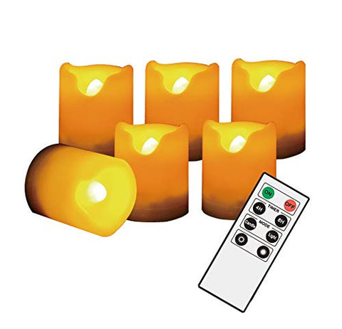 TTKX Flickering Battery Operated Flameless LED Votive Electric Candle Set for Home, Christmas Party Decorations Decor Gifts 6 Pack Battery Cream White - llightsdaddy - Jingtech - Flameless Candles