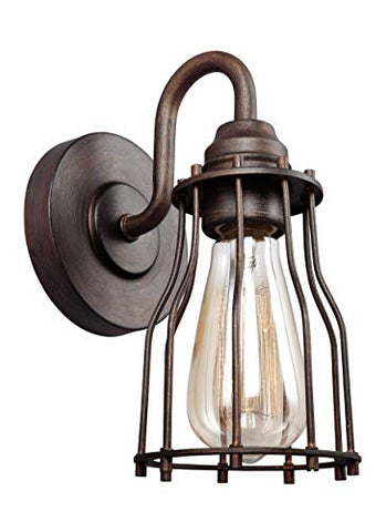 "Feiss VS24001PRZ Calgary Industrial Vintage Wall Sconce Lighting, Bronze, 1-Light (5""W x 9""H) 60watts"