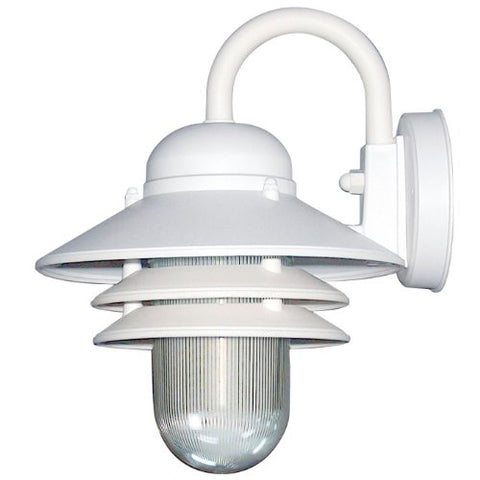 Sunlite 48202-SU DOD/NC/WH/CL/GU24 Decorative Outdoor Energy Saving Nautical Collection Polycarbonate Fixture, White Finish, Clear Lens - llightsdaddy - Sunlite - Outdoor Porch & Patio Lights