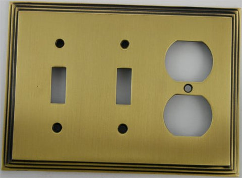 Deco Step Style Antique Brass 3 Gang Wall Plate - 2 Toggle Switch 1 Duplex Outlet - llightsdaddy - Classic Accents, Inc. - Wall Plates