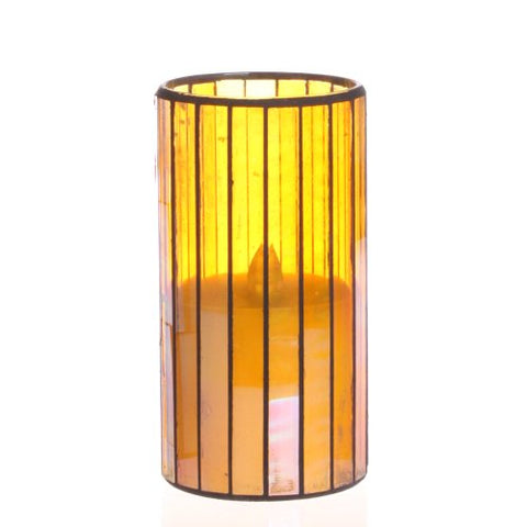 Home Impressions Vertical Stripes Pattern Glass Flameless Pillar Led Wax Candle - llightsdaddy - dfl - Flameless Candles