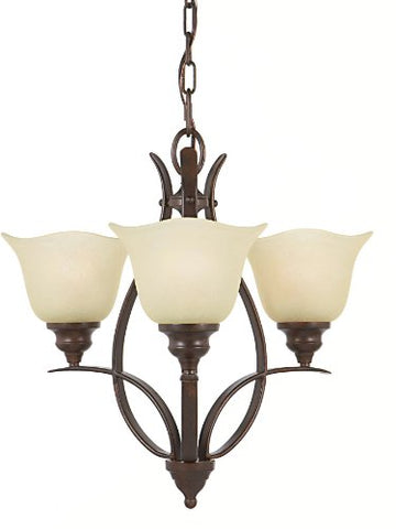 Feiss F2047/3GBZ Morningside Glass Mini Chandelier Lighting Bronze 3-Light (20Dia x 18H) 300watts
