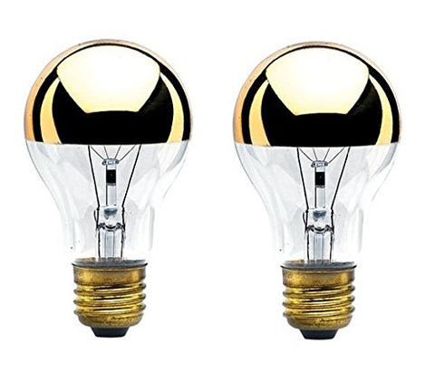 bulbrite 60a19hg 60-watt a19 bulb, half gold, medium base - 2 pack