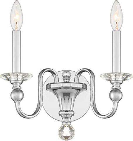 Quoizel MIL8702C Mila Crystal Wall Sconce, 2-Light 120 Watts, Polished Chrome