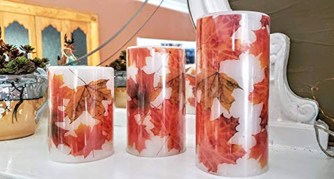 Flameless Real Wax Flickering Flame Fall Maple Leaf LED Candles, Set of 3 with Remote - llightsdaddy - nantucket - Flameless Candles
