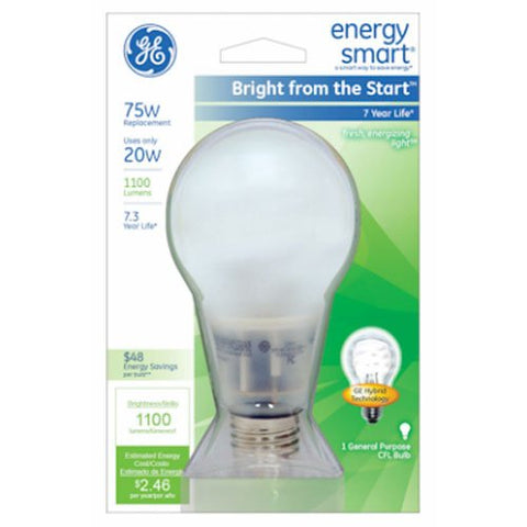 GE Lighting 63504 Energy Smart Bright from the Start CFL 20-Watt (75-watt replacement) 1100-Lumen A21 Light Bulb with Medium Base, 1-Pack