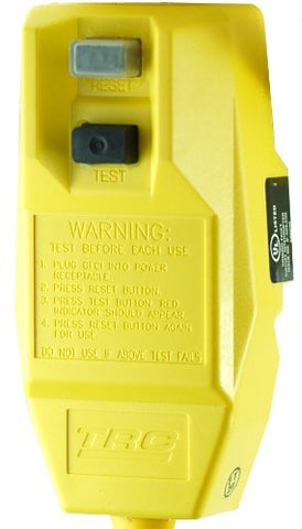 TRC 14880 226-6 12/3-Gauge Shockshield GFCI Protected Right Angle Plug Tri-Cord with 3-Lighted Outlets, Yellow - llightsdaddy - TRC - Wall Plates