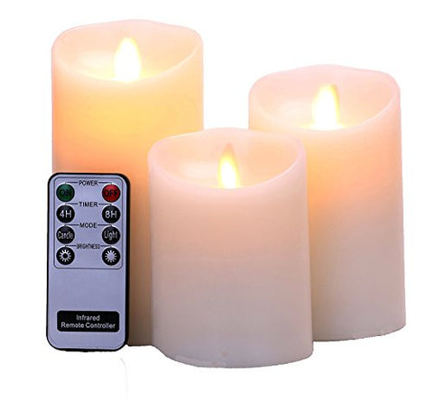 "Flameless Candles 4"" 5"" 6"" Set of 3 Ivory Real Wax Pillars & Moving Flame Wick LED Candles and 8-Key Remote Control with Timer Function,Battery Operated - llightsdaddy - Brightown - Flameless Candles"