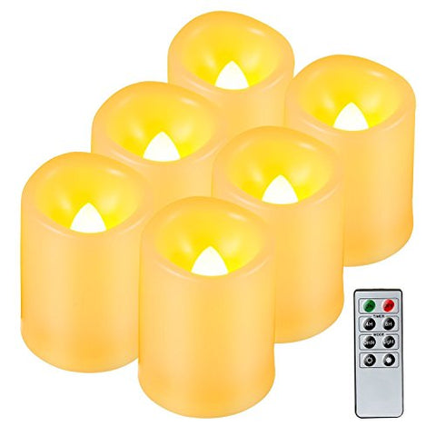 Kohree Realistic Battery-Powered Flameless Pillar Candles, Unscented Ivory Votive LED Candles with Remote Control and Timer, Batteries Included, 6 Piece - llightsdaddy - Kohree - Flameless Candles