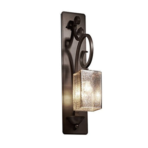 Justice Design Group Fusion 1-Light Wall Sconce - Dark Bronze Finish with Mercury Glass Artisan Glass Shade - llightsdaddy - Justice Design Group Lighting - Wall Scones and Lamps