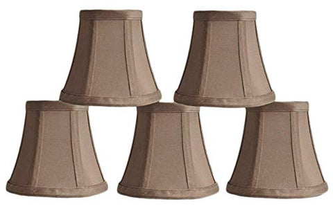 Urbanest 1100463b Set of 5 Chandelier Mini Lamp Shades 5-inch, Bell, Clip On, Taupe - llightsdaddy - Urbanest - Lamp Shades