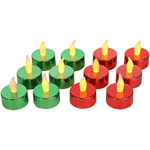 Home-X Flameless Tealight Votive Candles, Perfect for Holiday Parties and Decorating, Green and Red (Set of 12) - llightsdaddy - Home-X - Flameless Candles