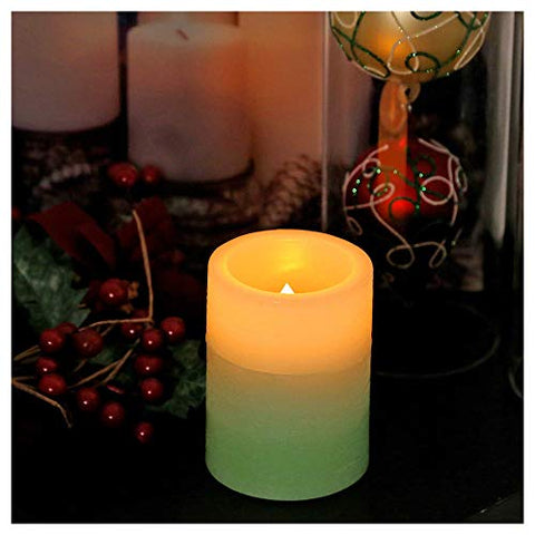 "Flameless Candles, Battery Operated Pillar Real Wax Candles, Flickering LED Candles with 4-Hour/8-Hour Timer Mode, Decorative Table Centerpiece for Parties, Home and Festival Celebration, 3├Ś4"" (Green) - llightsdaddy - XY Decor - Flameless Candles"