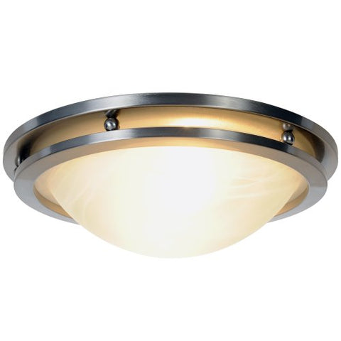 Monument 617602  Flush Mount Ceiling Fixture, Brushed Nickel, 13-7/8 In.